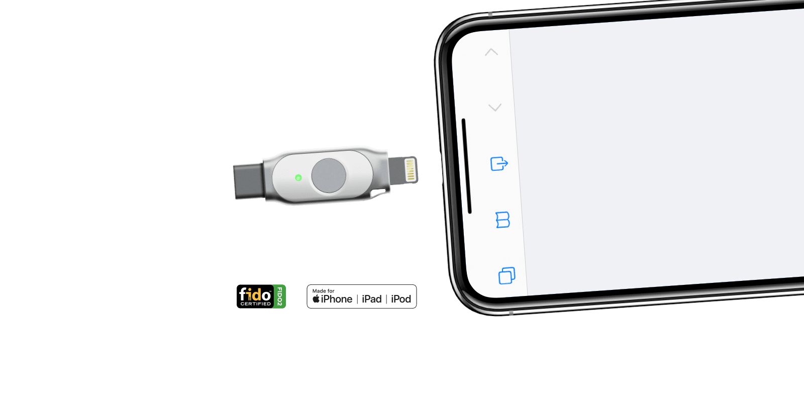 iePass FIDO Security Key, with built-in Apple Lightning &  USB-C dual interface, Apple device companion