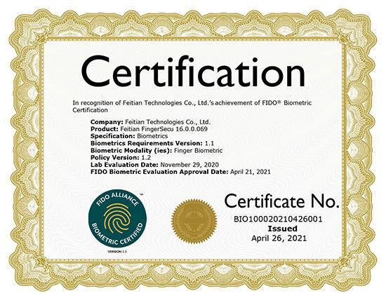 FEITIAN FIDO Biometric Component Certification